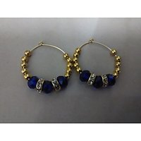 Hand Made Blue Crystal Gold Metallic Ring Hangings With Golden Beads