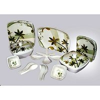 Geeta Diamond Square 44 Pcs Melamine Dinner Set Le-Gds-007
