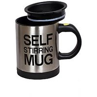 Stainless Steel Self Stirring Mug With Lid (battery Operated)