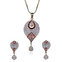 Awesome Collection Of Designer 22Ct. Gold And Rhodium Plated Cubic Zirconia With Ruby Red Stone Pendant Set