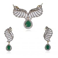 Designer CZ & Green Stone Studded Munglsutra Pendant Set Without Chain