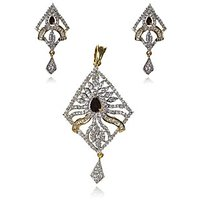 Wedding Collection Of Fashionable CZ Color Stones Studded 22Ct. Gold Plated Floral Pendant Set