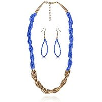Designer Blue Beads Studded String Theme Crossed Red & Golden Necklace Set