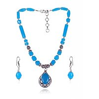Artestic Sea Blue Stone Necklace Set