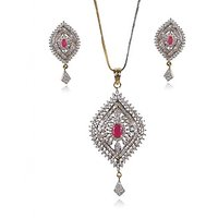 Designer CZ Studded 22Ct. Gold Plated Floral Pendant Set