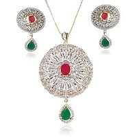 Designer Wedding Collection Of Multicolor Stone Studded 22Ct. Gold Plated Big Sized Round Pendant Set