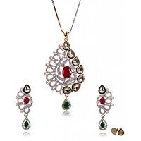 Designer 22K Gold Plated Traditional Kundan & Color Stone Pearls Leaf Theme Pendant Set