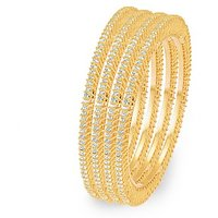 Sukkhi Ritzzy Gold Plated AD Single Line Set Of 4 Bangles For Women