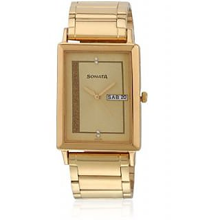 Sonata 77003Ym04 Golden/Two Tone Analog Watch
