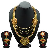 Sukkhi Astonishing Gold Plated Temple Jewellery  4 String Necklace Set For Women