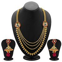 Sukkhi Glistening Peacock Gold Plated AD Four String Necklace Set For Women