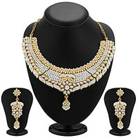 Sukkhi Elegant Gold Plated Meenakari AD Necklace Set For Women