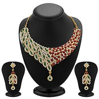 Sukkhi Delightly Gold Plated Meenakari AD Necklace Set For Women