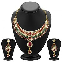 Sukkhi Magnificent Gold Plated Meenakari AD Necklace Set For Women