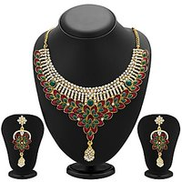 Sukkhi Glorius Gold Plated Meenakari AD Necklace Set For Women