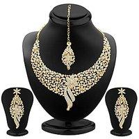 Sukkhi Sleek Gold Plated AD Stone Necklace Set