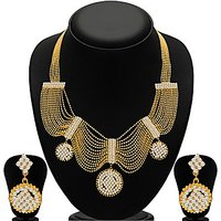Sukkhi Splendid Gold Plated  Ball Chain AD Necklace Set For Women