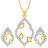 Sukkhi Glittery Gold And Rhodium Plated CZ Pendant Set For Women