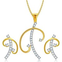 Sukkhi Charming Gold And Rhodium Plated CZ Pendant Set For Women