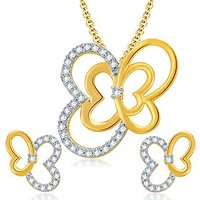 Sukkhi Butterfly Gold And Rhodium Plated CZ Pendant Set For Women