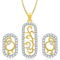 Sukkhi Eye-Catchy Gold And Rhodium Plated CZ Pendant Set For Women