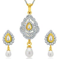 Sukkhi Designer Gold And Rhodium Plated AD Kundan Pendant Set For Women