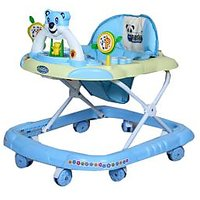 Hum Tum Baby Walker - Height Adjustable, Musical, Soft Cushion (Blue)
