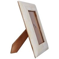 """Ivory Color Handmade Contemporary 4""""x6"""" Photo Picture Frame Natural Bone On Wood"""