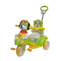 Happy Kids Tricycle With Guiding Handle And Carrier Box (Green)
