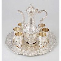 Royal Silver Taqila Set With Six Silver Taqila Cups