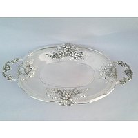 Royal Silver Plated Oval Toffee Tray Big In Beautiful Grapes Desing In Border
