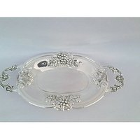 Royal Silver Plated Oval Toffee Tray Small In Beautiful Grapes Desing In Border