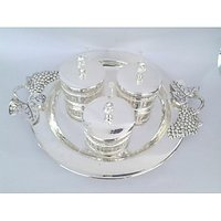 Royal Silver Plated Round Tray In Beautiful Grape Handle Tray With Three Silver Plated Suppari Bowl