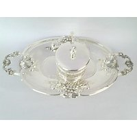 Royal Silver Plated Oval Toffee Tray Big In Beautiful Grapes Desing In Border & With Single Silver Plated Suppari Bowl