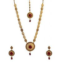 Voylla Charming Maang Tika Necklace Set Decorated With Shiny CZ And Red Color St
