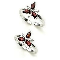 Manglam, Colour Stone Studded Silver Toe Ring-TR118