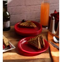 Snack Plates-Incrizma  Round Snack Plate 6 Pc - Red
