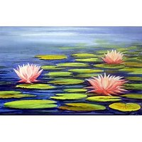 Beauty Of Lotus On Pond-Acrylic On Canvas Painting