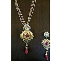Gold Plated Necklace With Earrings, Red Green Stones And Pearl