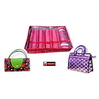 Combo Of Bangle Box 5 Row (5 Rod) + Jama  Hand Bag + Foldable Shopping Bag + Fre