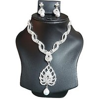 Yamiarts Shivani Alloy Neckless Set With Earring In High Quality Silver Plated Made Of High Quality Alloy Metal