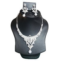 Yamiarts Sristi Alloy Neckless Set With Earring In High Quality Silver Plated Made Of High Quality Alloy Metal