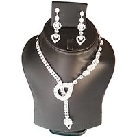 Yamiarts Poonam Alloy Neckless Set With Earring In High Quality Silver Plated Made Of High Quality Alloy Metal