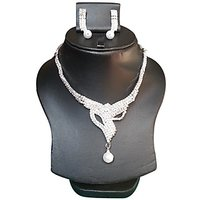 Yamiarts Pooja Alloy Neckless Set With Earring In High Quality Silver Plated Made Of High Quality Alloy Metal