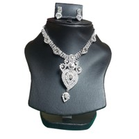 Yamiarts Iina Mina Alloy Neckless Set With Earring In High Quality Silver Plated Made Of High Quality Alloy Metal