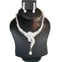 Yamiarts Suman Alloy Neckless Set With Earring In High Quality Silver Plated Made Of High Quality Alloy Metal