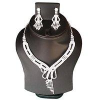 Yamiarts Priya Alloy Neckless Set With Earring In High Quality Silver Plated Made Of High Quality Alloy Metal