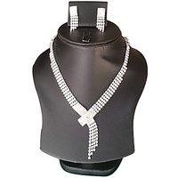 Yamiarts Devyani Alloy Neckless Set With Earring In High Quality Silver Plated Made Of High Quality Alloy Metal