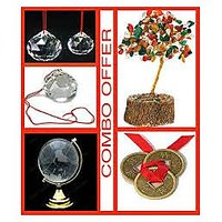 Fengshui Combo Of Crystal Tree ,coins,3 Crystal Balls & Globe - For Wealth Healt