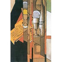 Glasses, Newspaper And Wine Bottle By Juan Gris - Fine Art Print